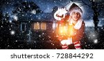 xmas time and elf with lamp    Shutterstock . vector #728844292