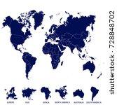 world map. europe asia america... | Shutterstock .eps vector #728848702