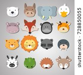 Stock vector set of animal heads artwork idea for baby products badges stickers circle magnets 728850055