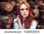 portrait of young tender... | Shutterstock . vector #728850355