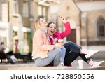 women drinking coffee together...   Shutterstock . vector #728850556