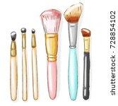 set of beauty brushes on white... | Shutterstock . vector #728854102