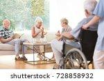 two elder women sitting on the... | Shutterstock . vector #728858932