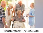 young nurse saying goodbye to... | Shutterstock . vector #728858938