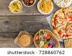 fast food on old wooden... | Shutterstock . vector #728860762
