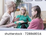 Small photo of Family mental health concept, strict critical mother complaining to the therapist about her problems with teenage daughter