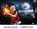 santa claus woman with lamp and ... | Shutterstock . vector #728872162