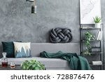 dark green blanket thrown on... | Shutterstock . vector #728876476