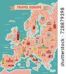 europe travel map poster....   Shutterstock .eps vector #728879398