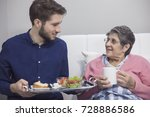 helping to the elderly  | Shutterstock . vector #728886586