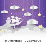 paper art of goodnight and... | Shutterstock .eps vector #728896906