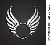 3d Silver Winged Circle Label