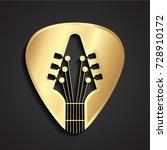 3d golden guitar stick logo | Shutterstock .eps vector #728910172