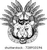 mysterious jaguar the shaman.... | Shutterstock .eps vector #728910196