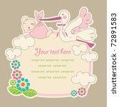 baby announcement card. vector... | Shutterstock .eps vector #72891583