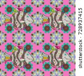 cute flowers pattern with pink  ... | Shutterstock .eps vector #728937415