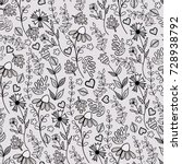 seamless black and white... | Shutterstock . vector #728938792