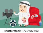 arab boy or man watching movie... | Shutterstock .eps vector #728939452