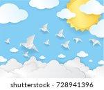 white paper of bird flying...   Shutterstock .eps vector #728941396