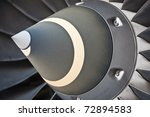 Turbine Blades of An Aircraft Jet Engine - stock photo
