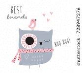 cute owl bird vector... | Shutterstock .eps vector #728947276