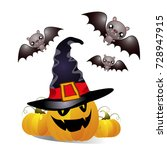 set of cheerful halloween...   Shutterstock .eps vector #728947915