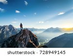 the brave climbers conquered... | Shutterstock . vector #728949145