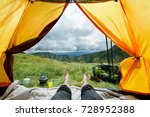 legs of the traveler in a tent... | Shutterstock . vector #728952388