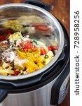 pressure cooker chicken curry | Shutterstock . vector #728958256
