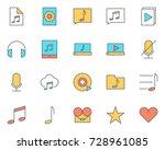music audio thin line icons set....