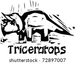 Simple rough woodcut style depictions of a Triceratops Dinosaur - stock vector