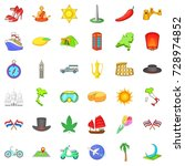 trip icons set. cartoon style... | Shutterstock . vector #728974852
