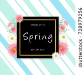 spring sale background with... | Shutterstock .eps vector #728979256