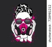 stylish girl in a respirator... | Shutterstock .eps vector #728981212