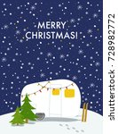 christmas card with winter camp | Shutterstock .eps vector #728982772