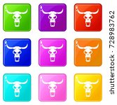 buffalo skull icons of 9 color... | Shutterstock . vector #728983762