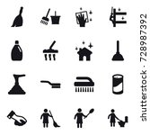 16 vector icon set   broom ... | Shutterstock .eps vector #728987392