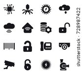 16 vector icon set   chip ... | Shutterstock .eps vector #728987422