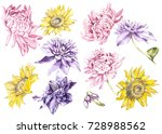 big set watercolor collection... | Shutterstock . vector #728988562