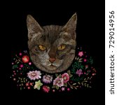 portrait of a cat and flowers....   Shutterstock .eps vector #729014956