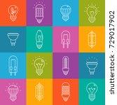 light bulbs lineart minimal... | Shutterstock .eps vector #729017902