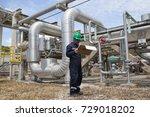 male worker inspection visual... | Shutterstock . vector #729018202