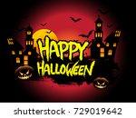 happy halloween poster  night...   Shutterstock .eps vector #729019642