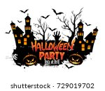 halloween party poster design ... | Shutterstock .eps vector #729019702