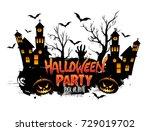 halloween party poster design ... | Shutterstock .eps vector #729019702