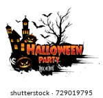 halloween party poster design ... | Shutterstock .eps vector #729019795