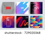 set of covers with trendy... | Shutterstock .eps vector #729020368