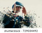 a person in virtual glasses... | Shutterstock . vector #729034492