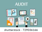 auditing concepts. auditor at... | Shutterstock .eps vector #729036166