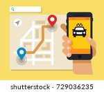 smart taxi concept. smartphone... | Shutterstock .eps vector #729036235